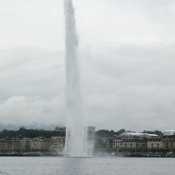 Jet d'Eau on Lake Geneva.  With every second, some 130 gallons of water are propelled at 125 miles an hour to a maximum height of 150 yards.